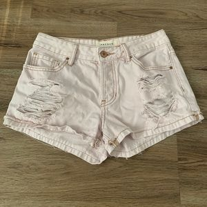 Light Pink Ripped Jean Shorts